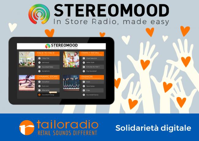 Tailoradio_solidarietà_digitale_stereomood_radio_instore_gratis_negozi_pubblica_utilità