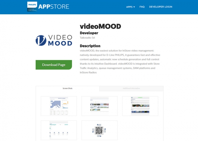 videoMOOD™ è disponibile nell'APP Store Philips Professional Display Solutions!