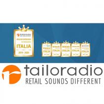 """Tailoradio è Gold  Sponsor di """"Insegna dell'anno 2019"""" e del Premio """"Miglior Esperienza In Negozio Italia"""""""